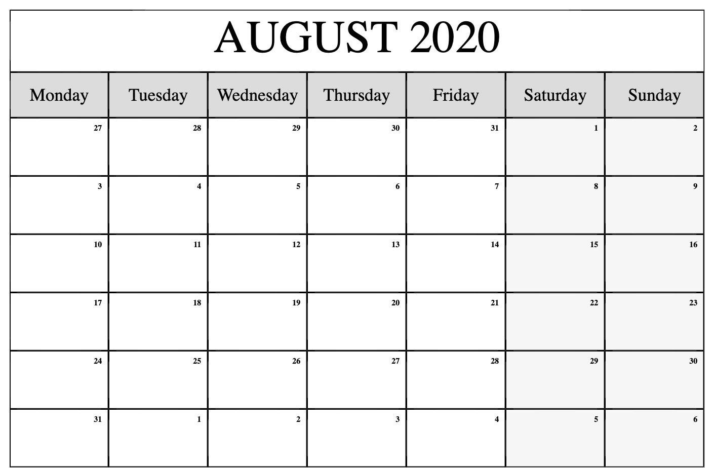 August 2020 Calendar Printable Template With Holidays-Printable Monthly Calendar June July August 2020