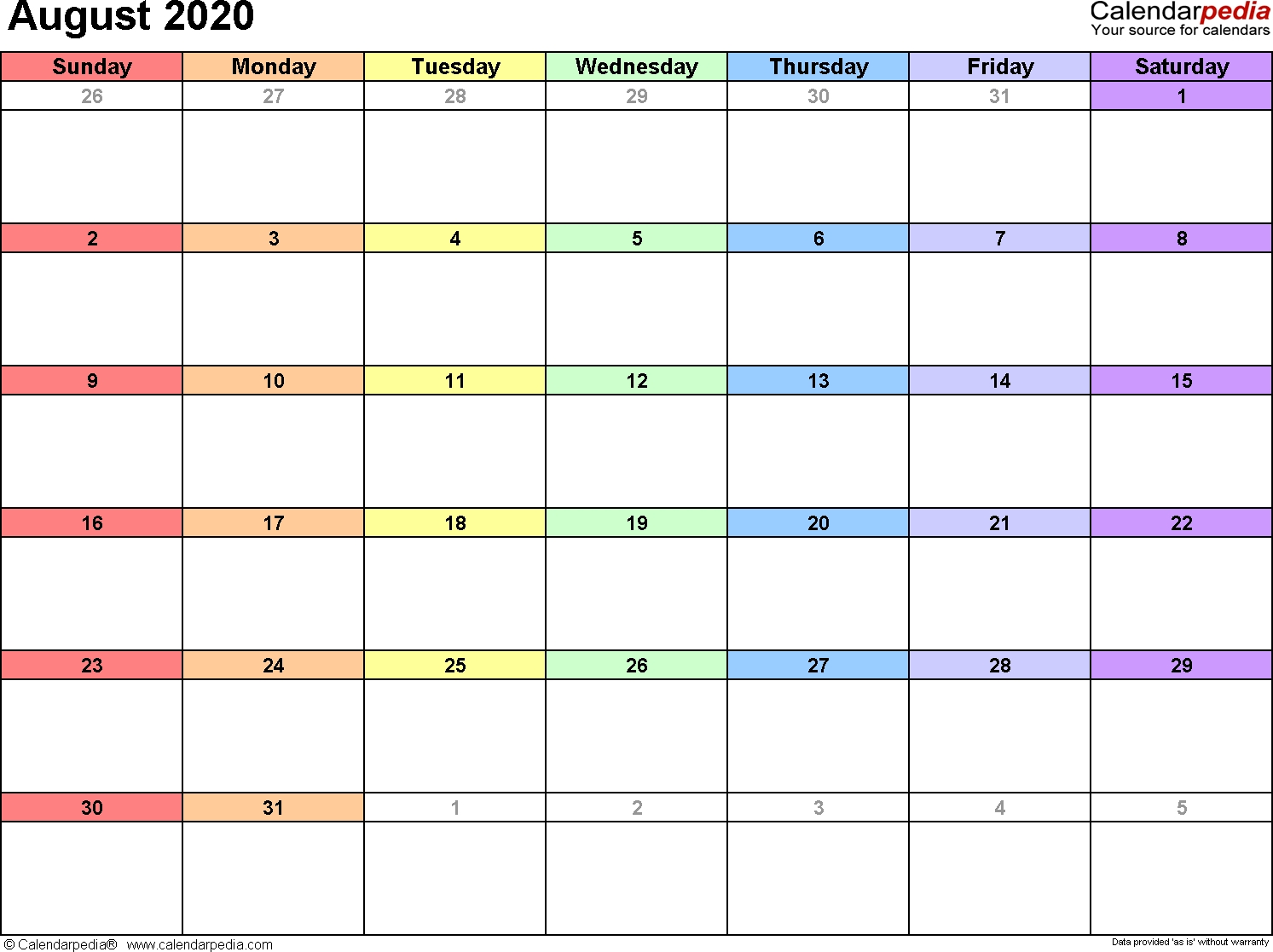August 2020 Calendars For Word, Excel & Pdf-Calendar Template Fill In Aug 2020