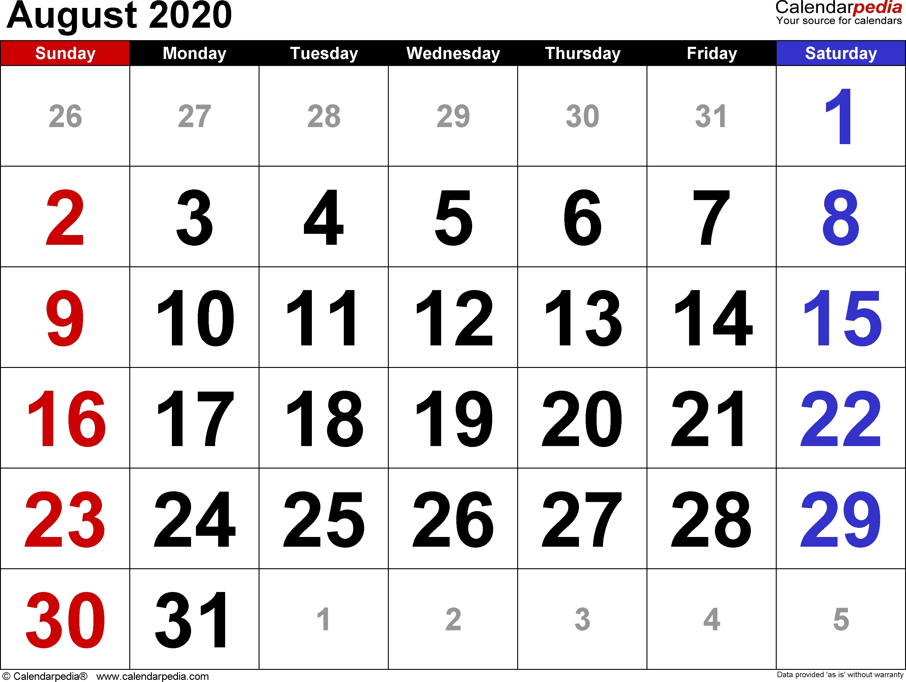 August 2020 Calendars For Word, Excel & Pdf-Monthly Planner June July August2020