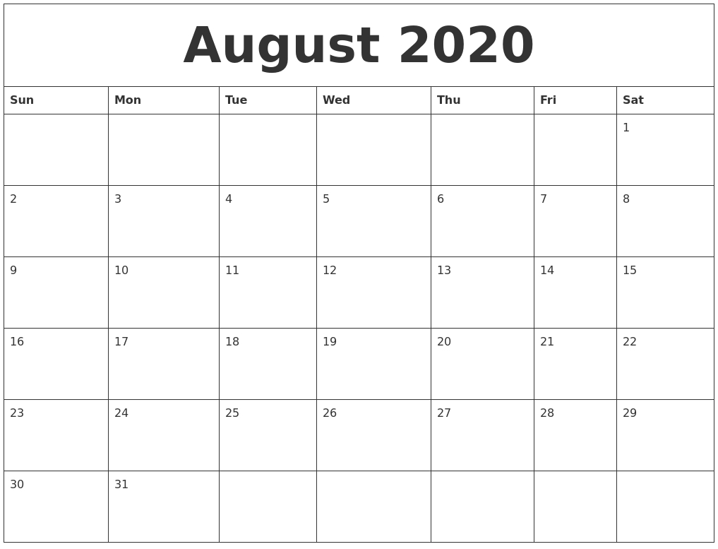August 2020 Large Printable Calendar-Monthly Calendar August Through December 2020