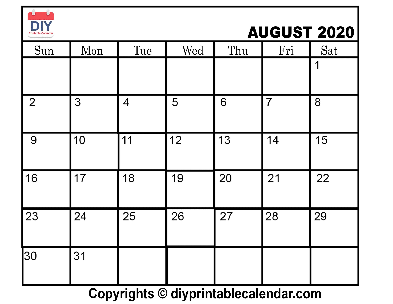 August 2020 Printable Calendar Template-2020 August September Octobercalendar Monthly