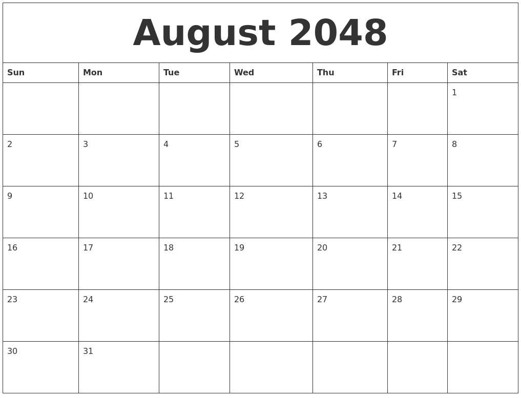August 2048 Monthly Calendar To Print-June July August Monthly Calendar Print