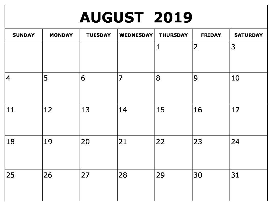 August Calendar 2019 Waterproof   August 2019 Calendar For-A Blank Page Of 31 Days Of A Calendar