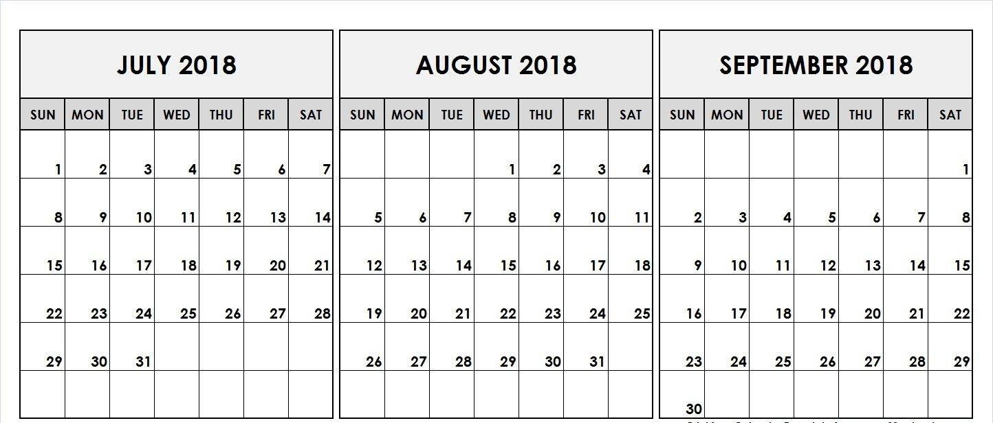 August September 2018 Calendar Template | Printable August-Blank Callendar For June July Aug And Sept