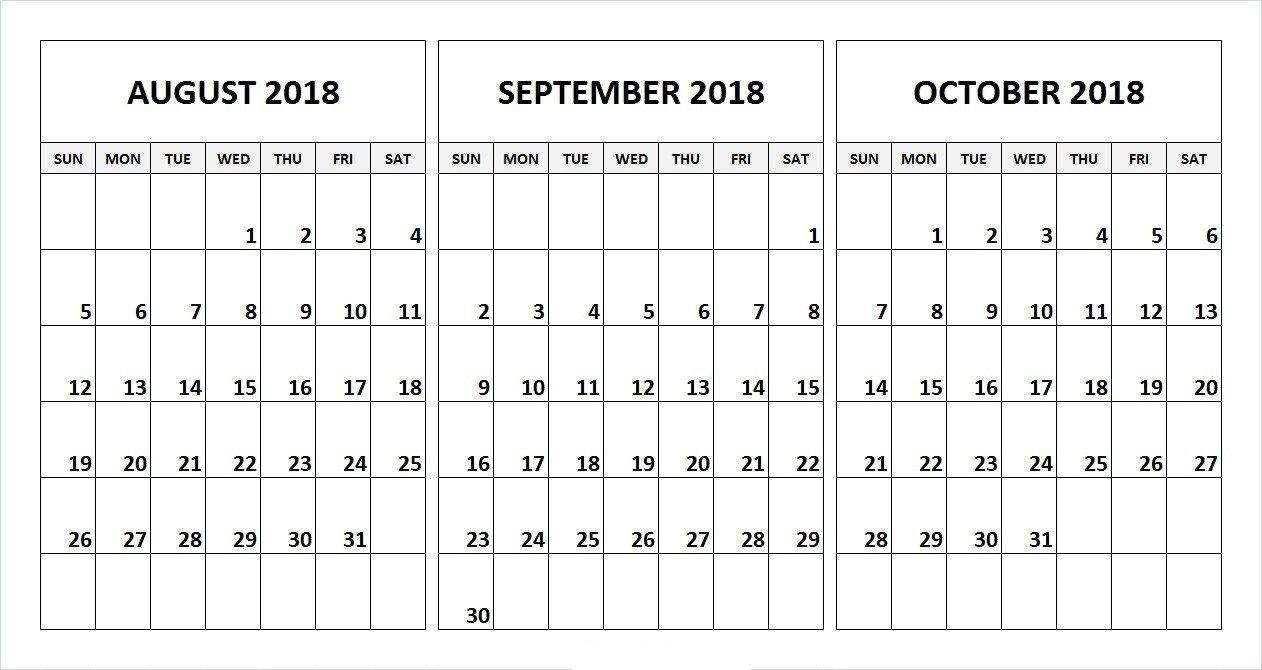 August September October 2018 Calendar Desk Template-Blank Callendar For June July Aug And Sept