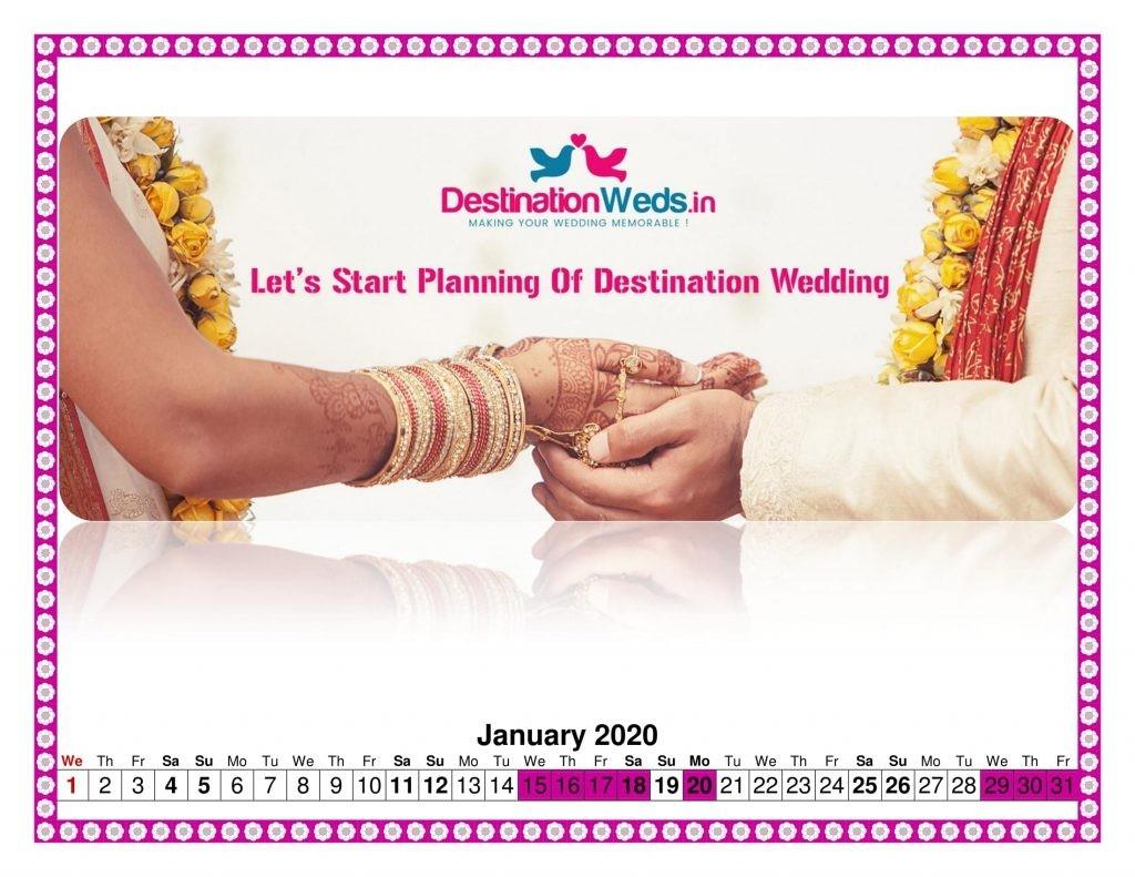 Auspicious Muhurats & Wedding Dates In 2020 | Destination Weds-January 2020 Calendar Vivah Muhurat
