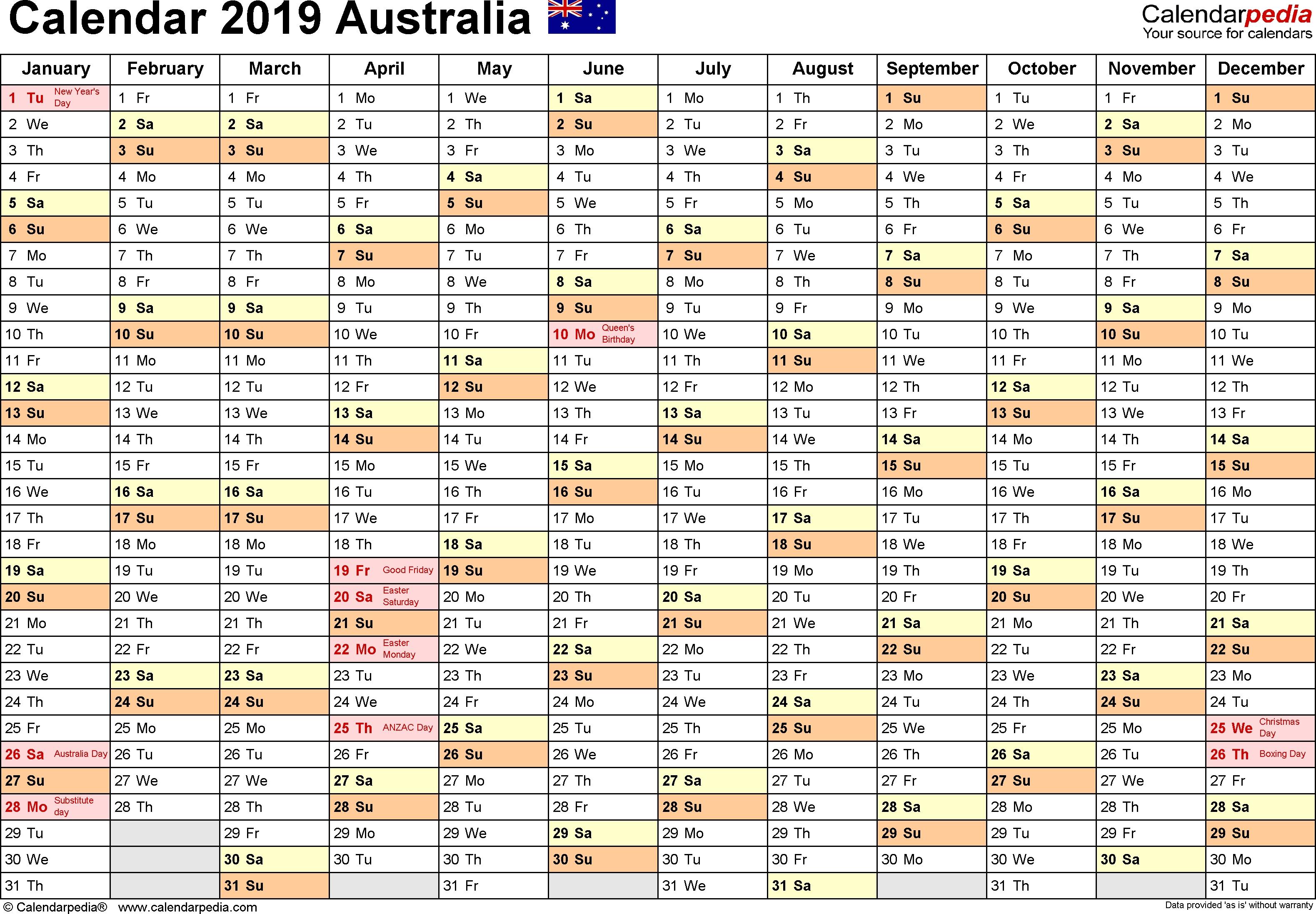 Australia Calendar 2019 - Free Printable Pdf Templates-Indesign Calendar Template 2020