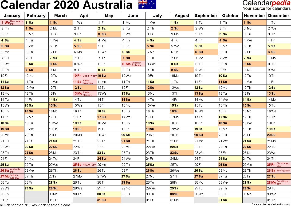 Australia Calendar 2020 - Free Printable Pdf Templates-Calender With Qld Holidays 2020 Printable