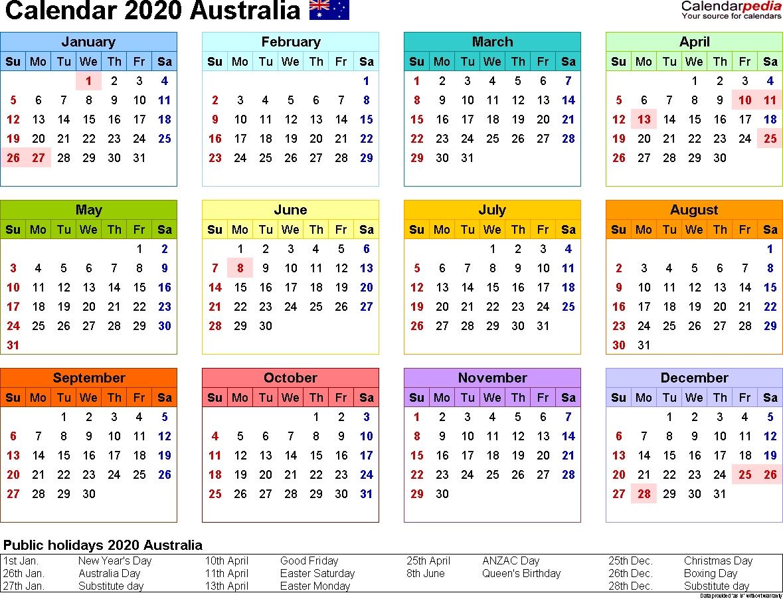 Australia Calendar 2020 - Free Word Calendar Templates-2020 Calendar With Public Holidays