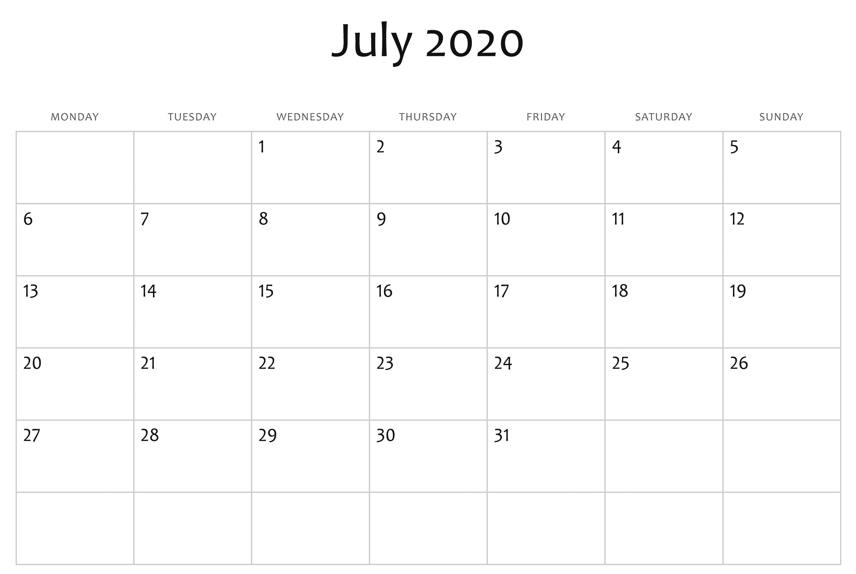 Awesome July 2020 Calendar Pdf, Word, Excel Template-Calendar Template 2020 Printable Free With Prior And Next Month