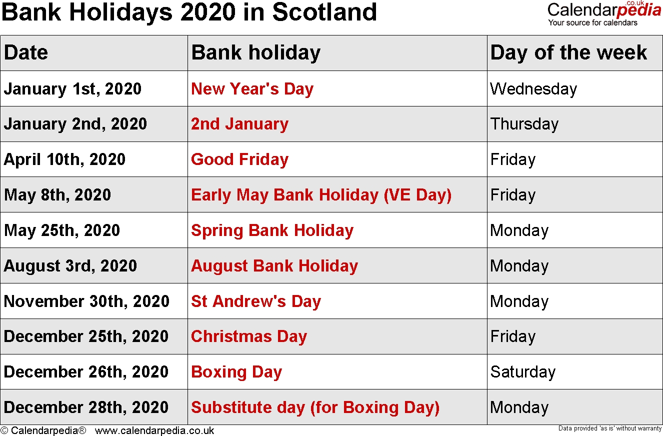 Bank Holidays 2020 In The Uk-2020 Calendar With Uk Bank Holidays