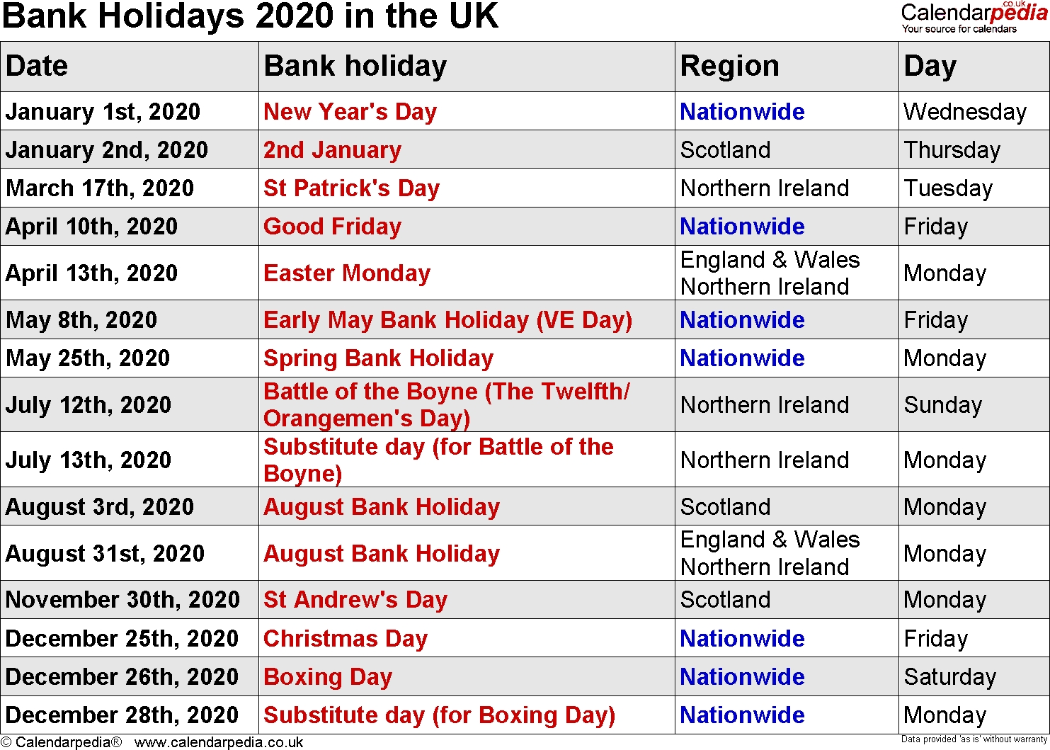 Bank Holidays 2020 In The Uk-Calendar 2020 Printable With Bank Holidays