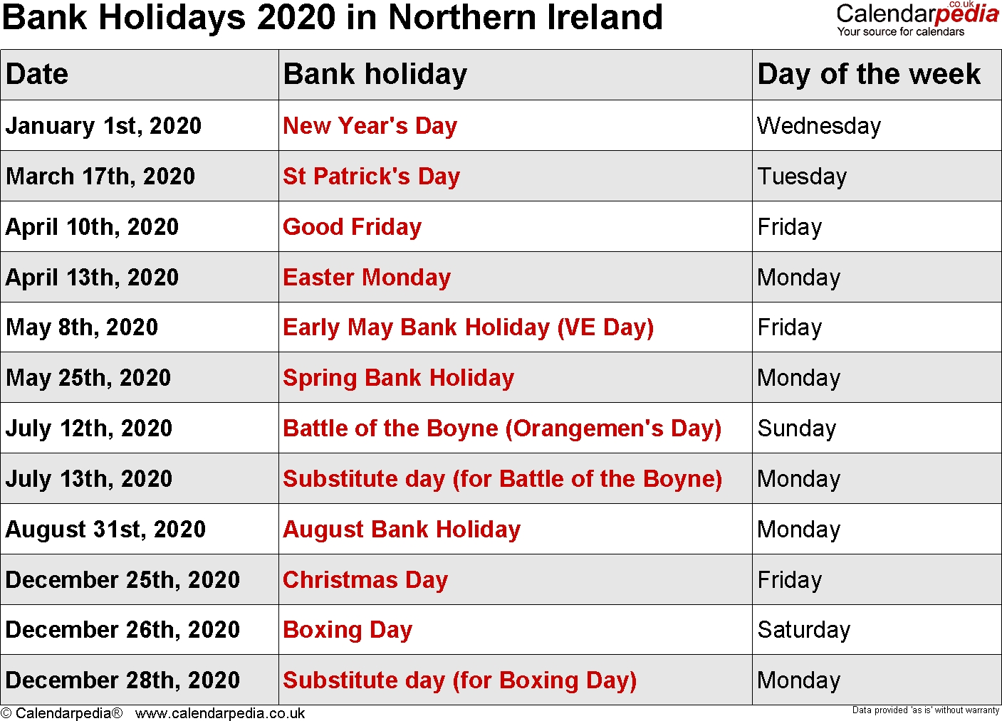 Bank Holidays 2020 In The Uk-Food National Holidays 2020