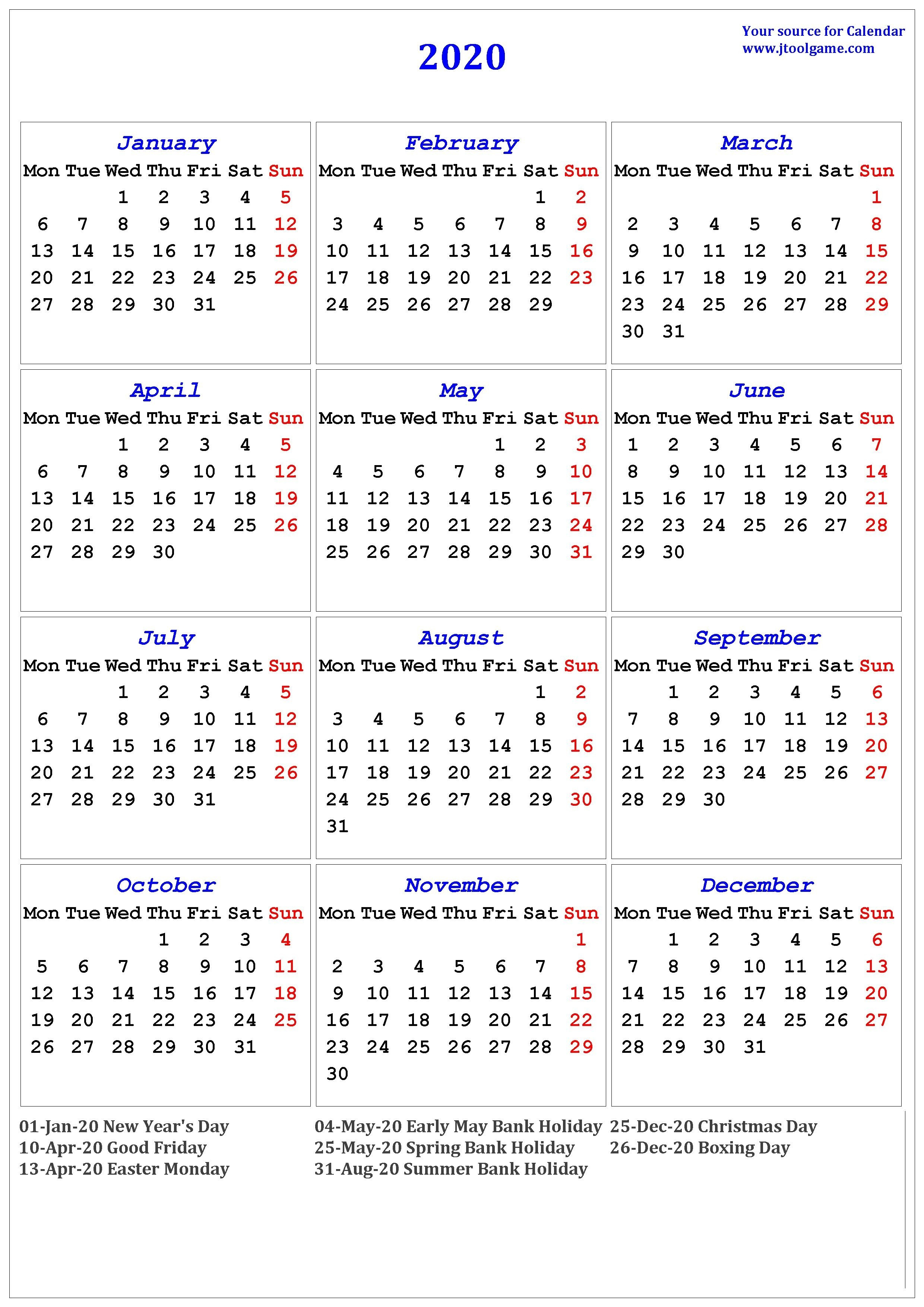 2020 Calendar With Uk Bank Holidays | Calendar Template ...
