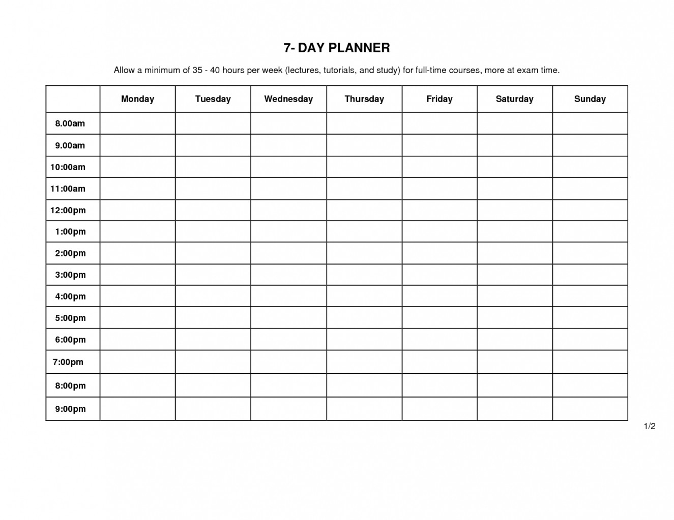 Best Monday Through Sunday Schedule June July August-Monday Through Friday Template