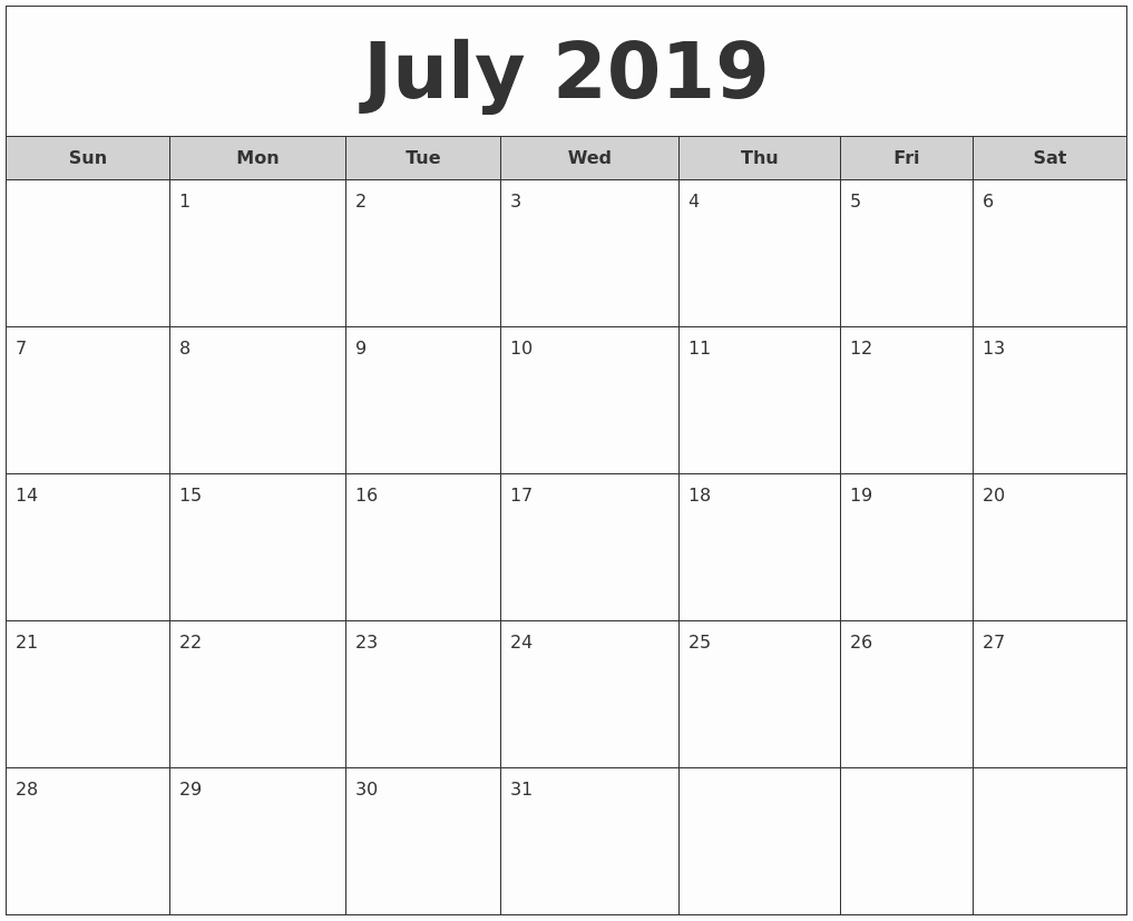 Best Of 32 Design Printable Monthly Calendar Free 2019-Printable Monthly Calendars For June And July