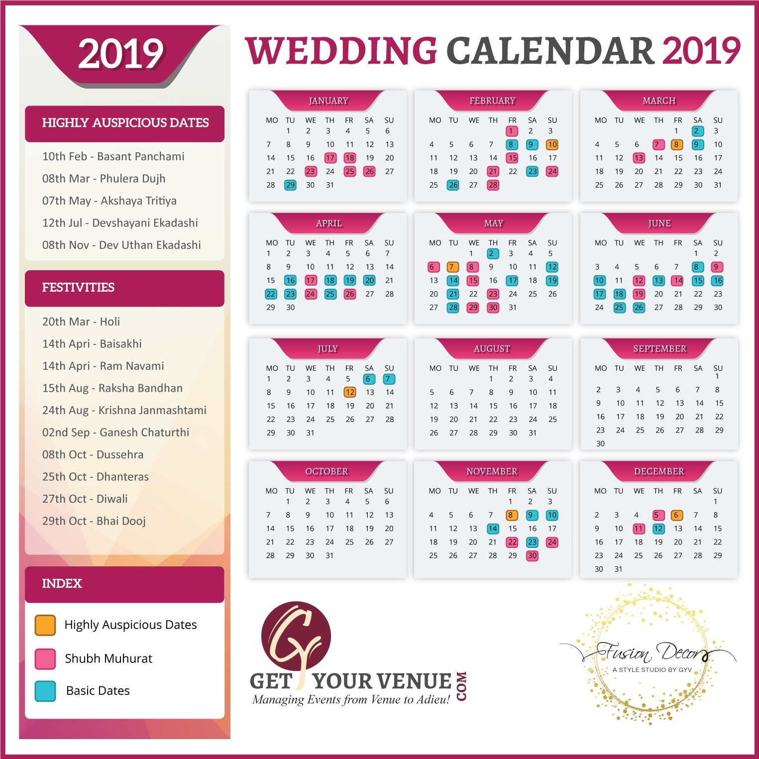 Best Wedding Dates To Get Married In 2019 - Gyv Blog-January 2020 Calendar Marriage Dates
