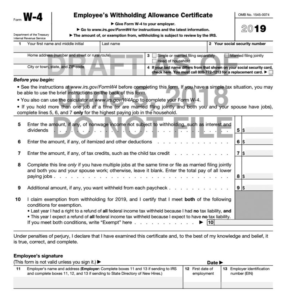 Big Changes For The New W-4 Form-2020 Blank W 9 Form