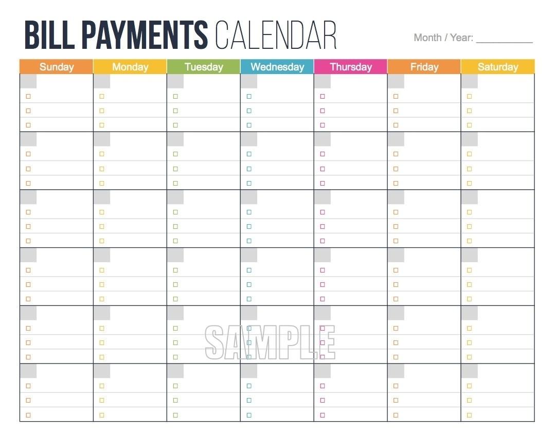 Bill Due Date Calendar Printable | Template Calendar Printable-Bill Due Date Calendar Template
