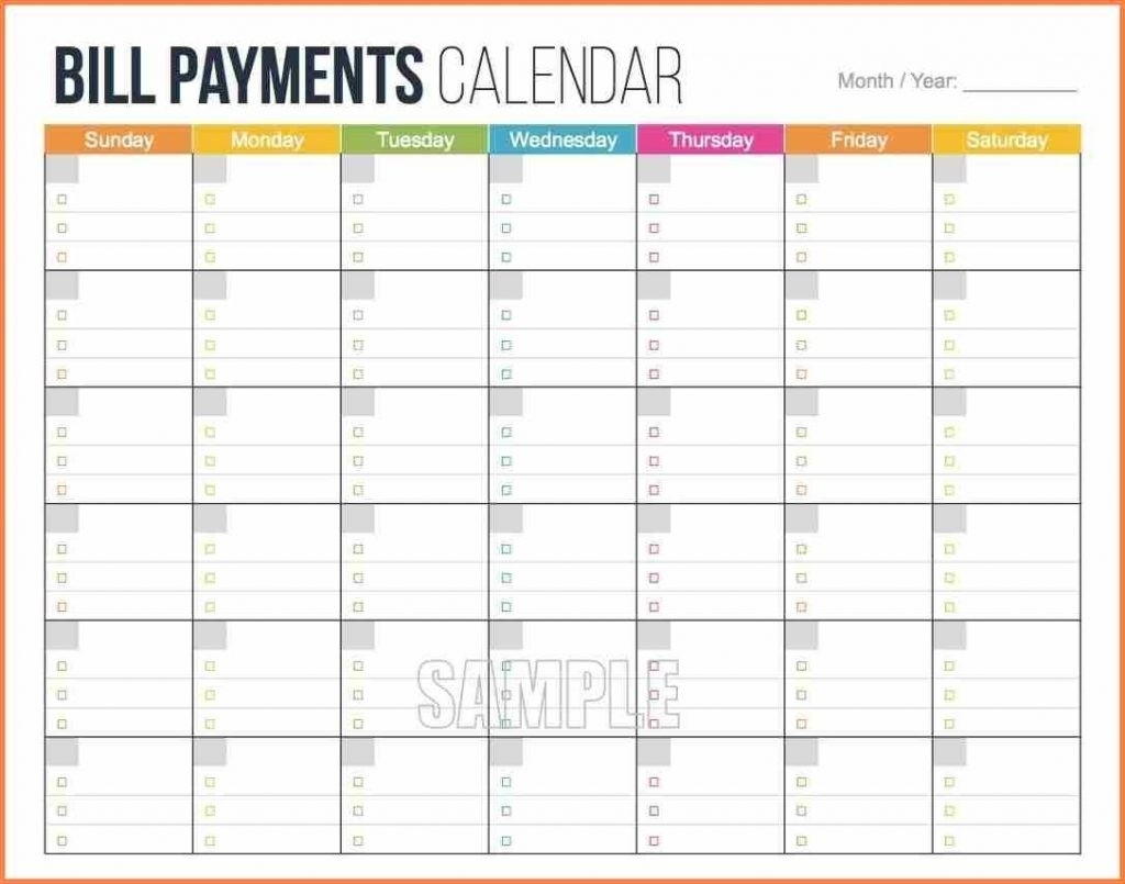 Bill Pay Calendar Template Free | Isacl-Free Bill Payment Calendar Template