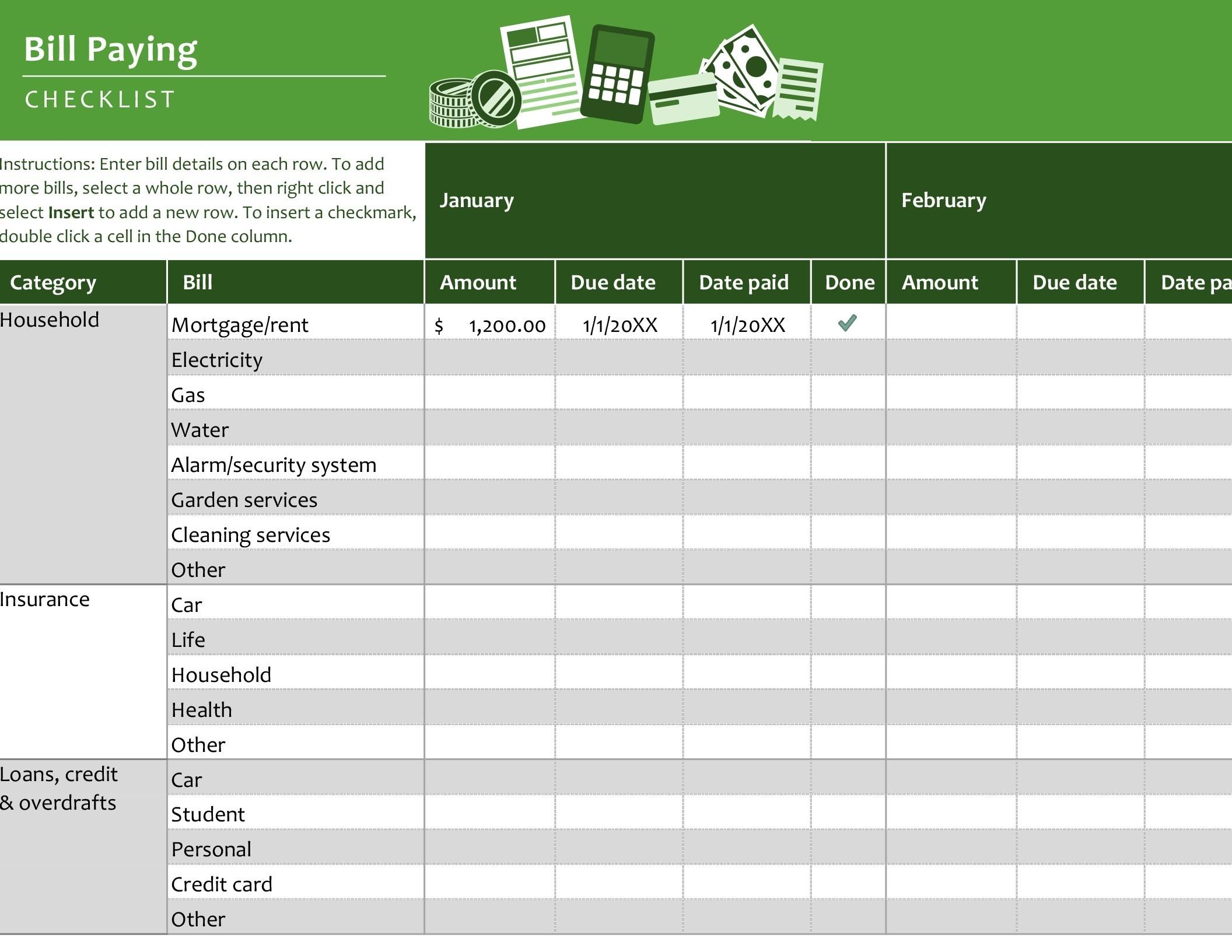 Bill Paying Checklist-List Of Bills Template