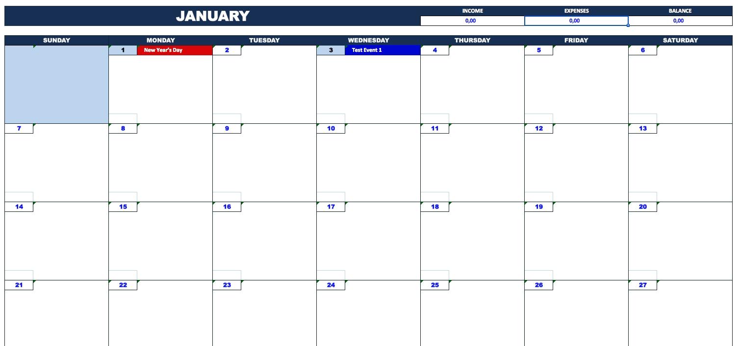 Bill Payment Calendar » Exceltemplate-Bill Due Date Calendar Template