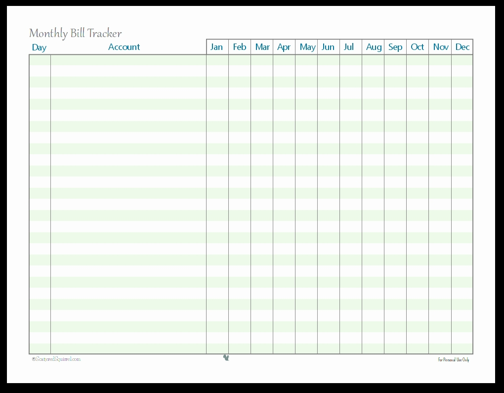 Bill Tracker Template Monthly Free Lovely Bud Planner-Blank Monthly Bill Payment Worksheet