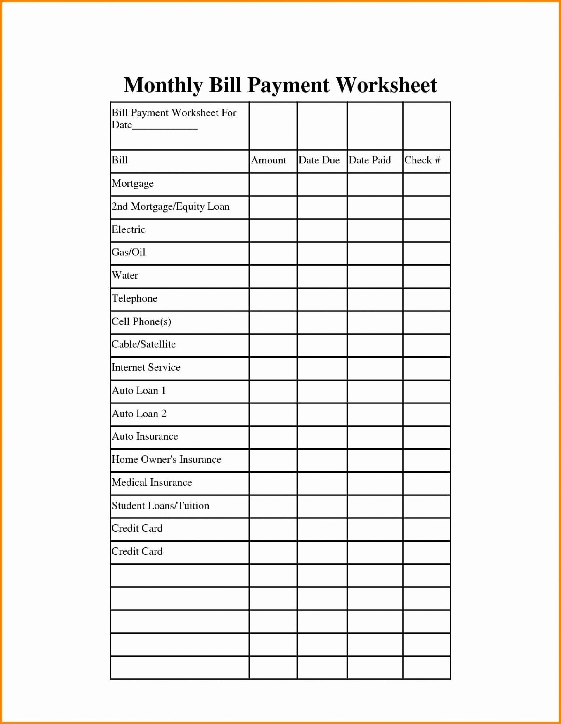 Bills Budget Spreadsheet Bill Monthly Payment Family-Blank Printable Monthly Bill Pay Worksheet
