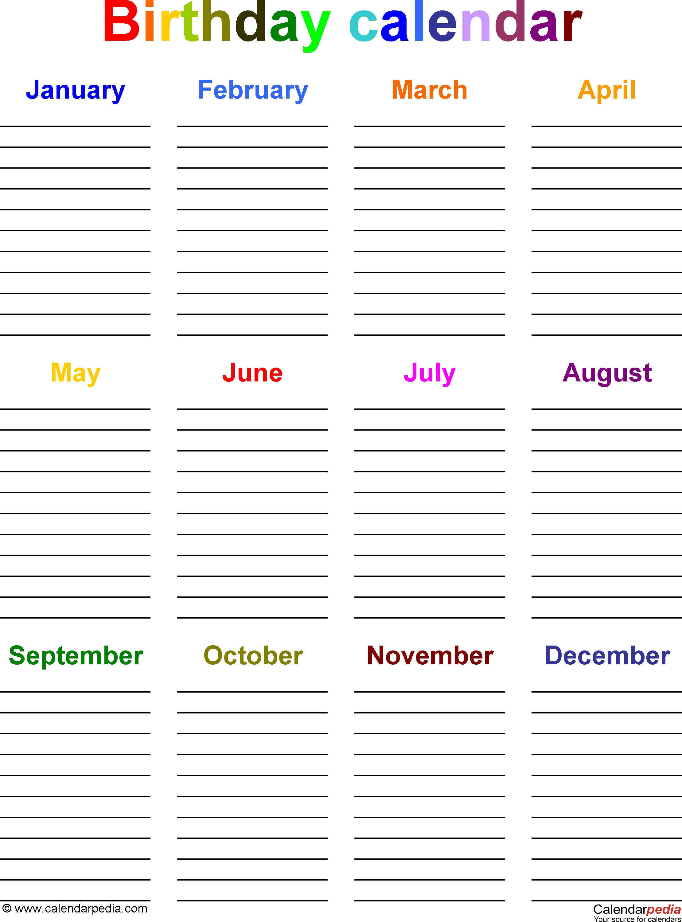 Birthday Calendars - 7 Free Printable Word Templates-Monthly Calendar List Template