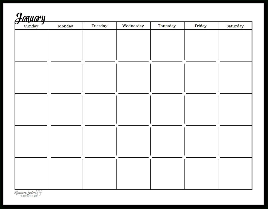 Black And White - Sunshine Skies - Single Page - Undated-Scattered Squirrel Monthly Calendar