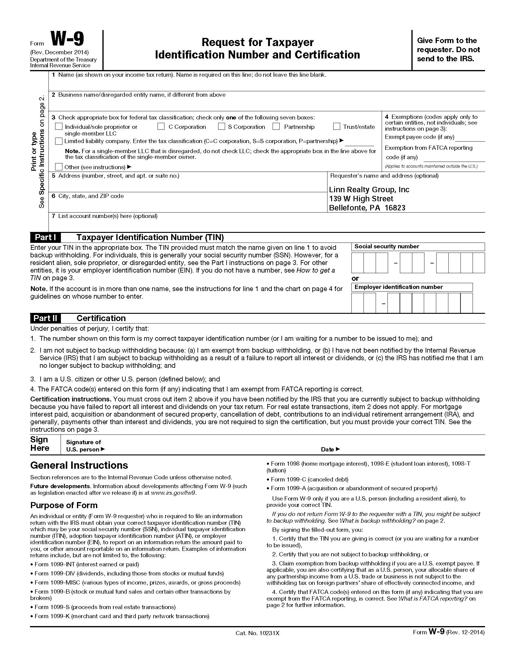 Blank 2019 W 9 Form Printable | Calendar Template Printable-Blank W9 2020 Printable Pdf