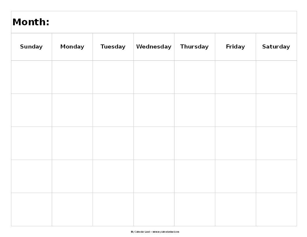 Blank 5 Week Calendar | Thekpark-Hadong-Template Printable Calendar 5 Weeks