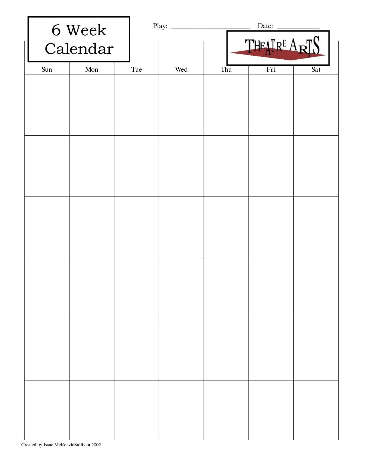Blank 6 Week Calendar | Thekpark-Hadong-Blank 6 Week Calendar Template