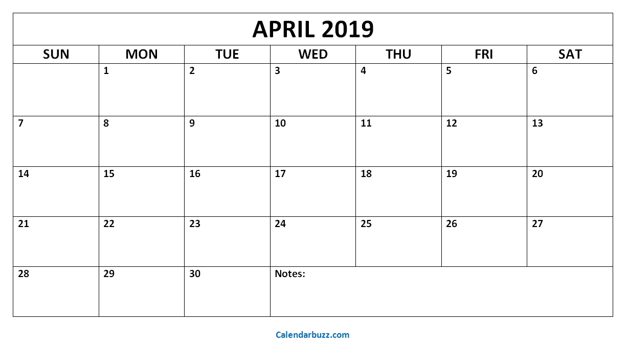 Blank April 2019 Calendar: Download The Free Printable-Printable Monthly Calendar That I Can Edit