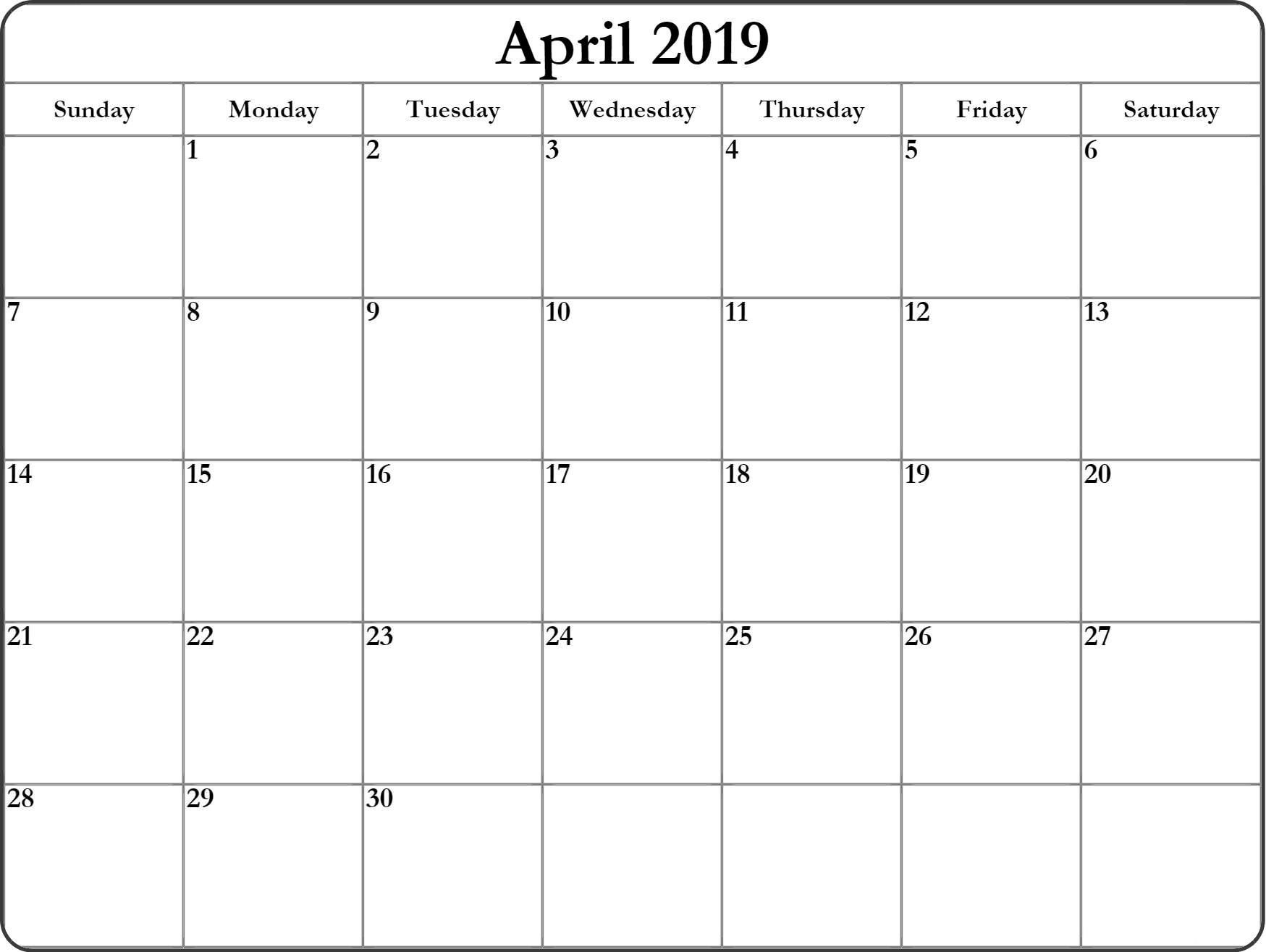 Blank April 2019 Calendar #full Page #tumblr #linkedin-A Blank Page Of 31 Days Of A Calendar