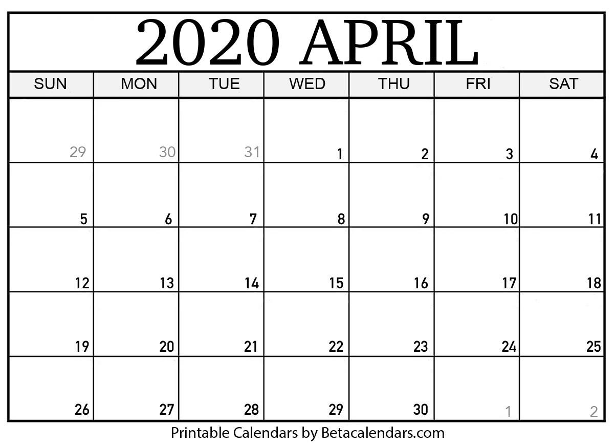 Blank April 2020 Calendar Printable - Beta Calendars-Fill In Calendar April 2020 Template