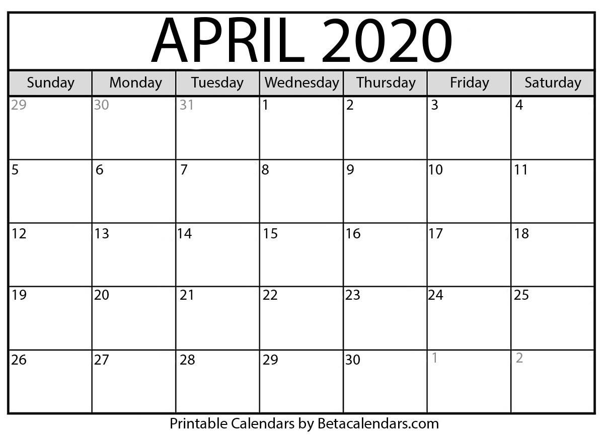 Blank April 2020 Calendar Printable - Beta Calendars-January 2020 Calendar Japan