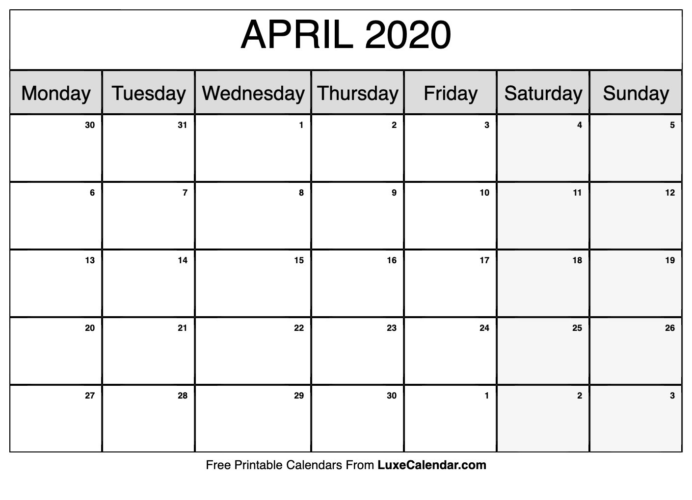 Blank April 2020 Calendar Printable - Luxe Calendar-Month Template 2020 Printable Free Starting On Monday