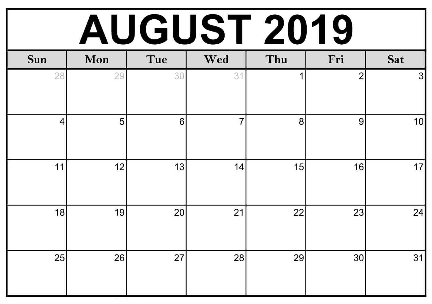 Blank August 2019 Calendar Printable #editable #templates-A Blank Page Of 31 Days Of A Calendar