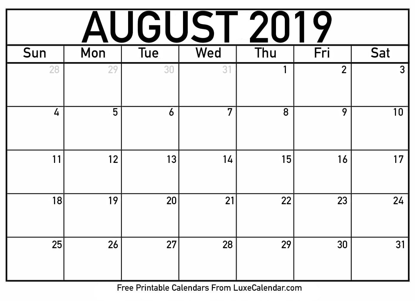 Blank August 2019 Calendar Printable - Luxe Calendar-Luxe Calendar Aug 2020 Blank Printable
