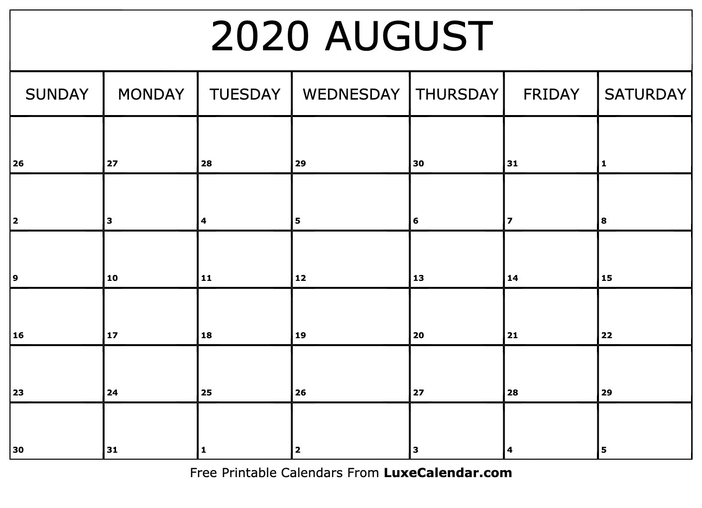 Blank August 2020 Calendar Printable - Luxe Calendar-Luxe Calendar Aug 2020 Blank Printable