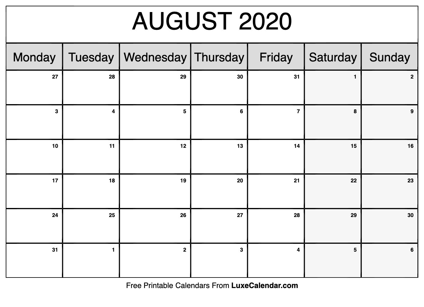 Blank August 2020 Calendar Printable - Luxe Calendar-Monthly Planner June July August2020