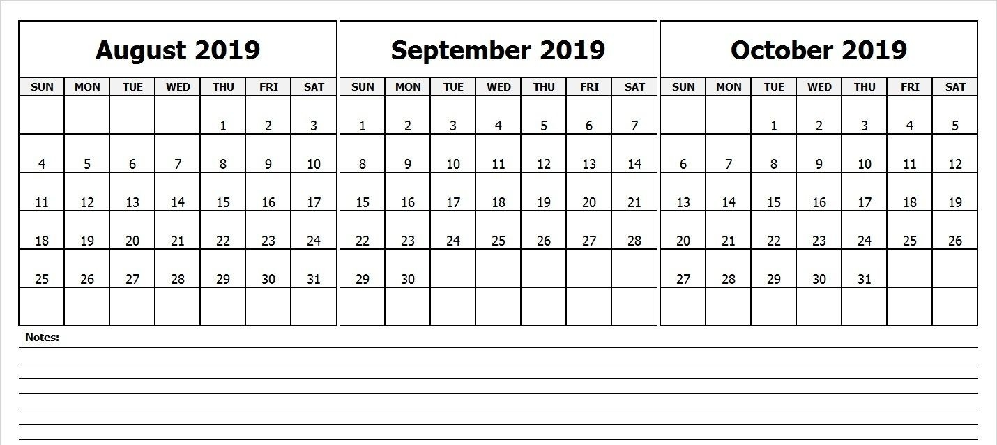 Blank August September October Calendar 2019   Printable-2020 August September Octobercalendar Monthly