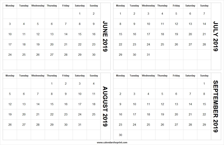 Blank Calendar 2019 June July August September | 4 Months 2019-Blank Callendar For June July Aug And Sept
