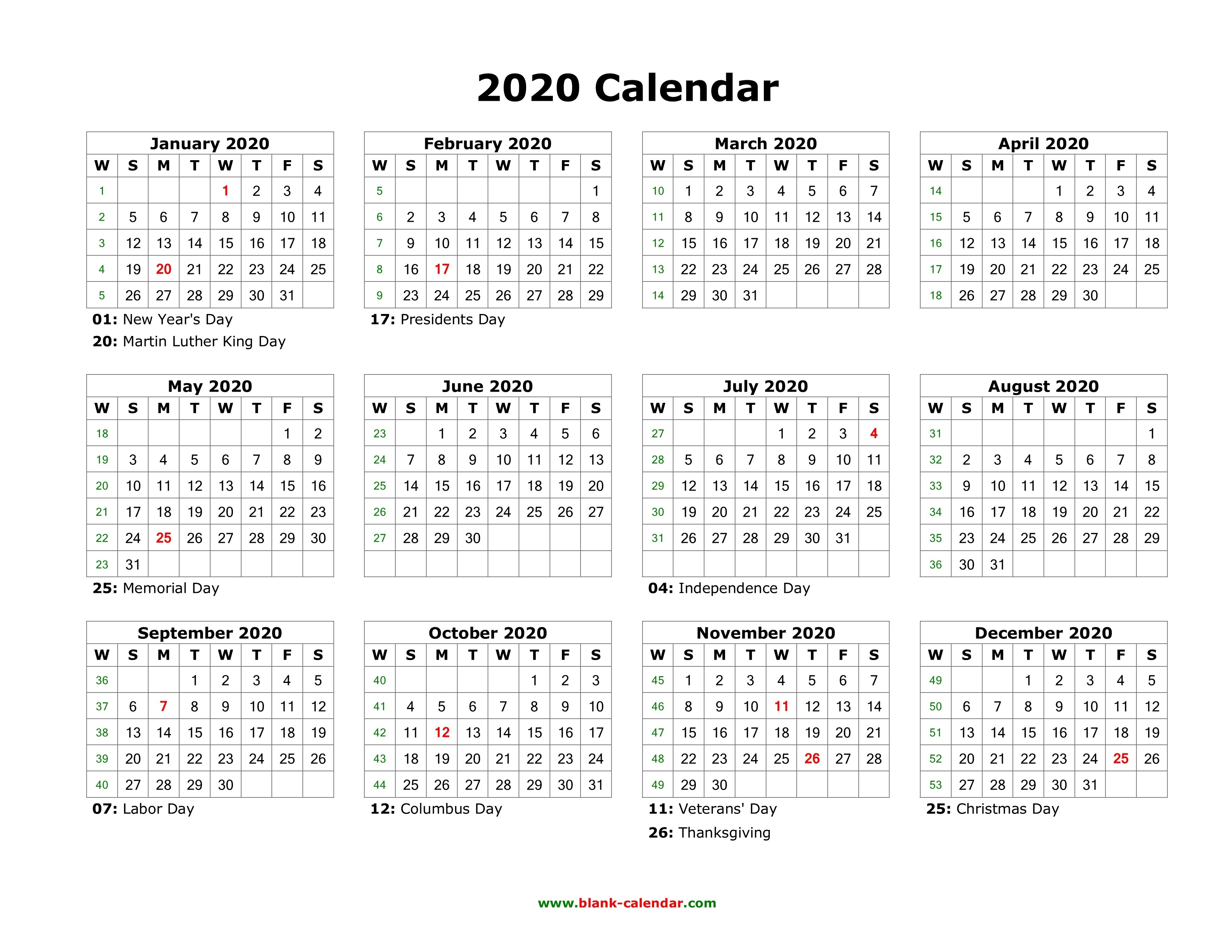 Blank Calendar 2020 | Free Download Calendar Templates-Calendar 2020 With Us Holidays Printable