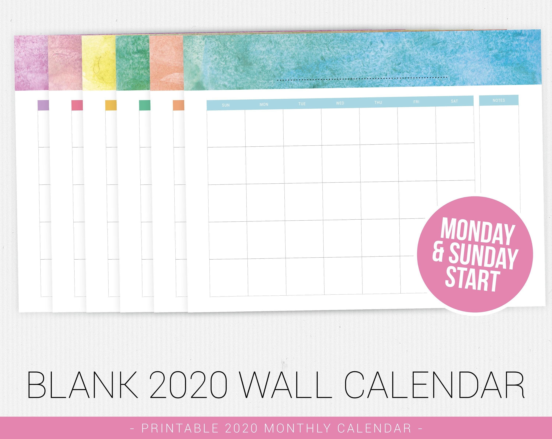 Blank Calendar 2020, Printable Calendar, 2020 Calendar Pdf, Printable Pdf,  Monthly Calendar, Minimal Calendar, Calendar Printable, Printable-Monthly Calendar 2020 Printable Din A4
