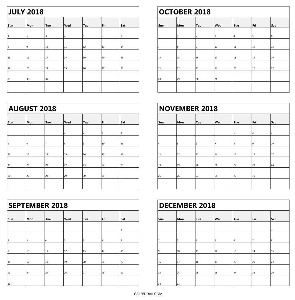 Blank Calendar 6 Months | One Page Calendar Printable-Six Month Calendar Template
