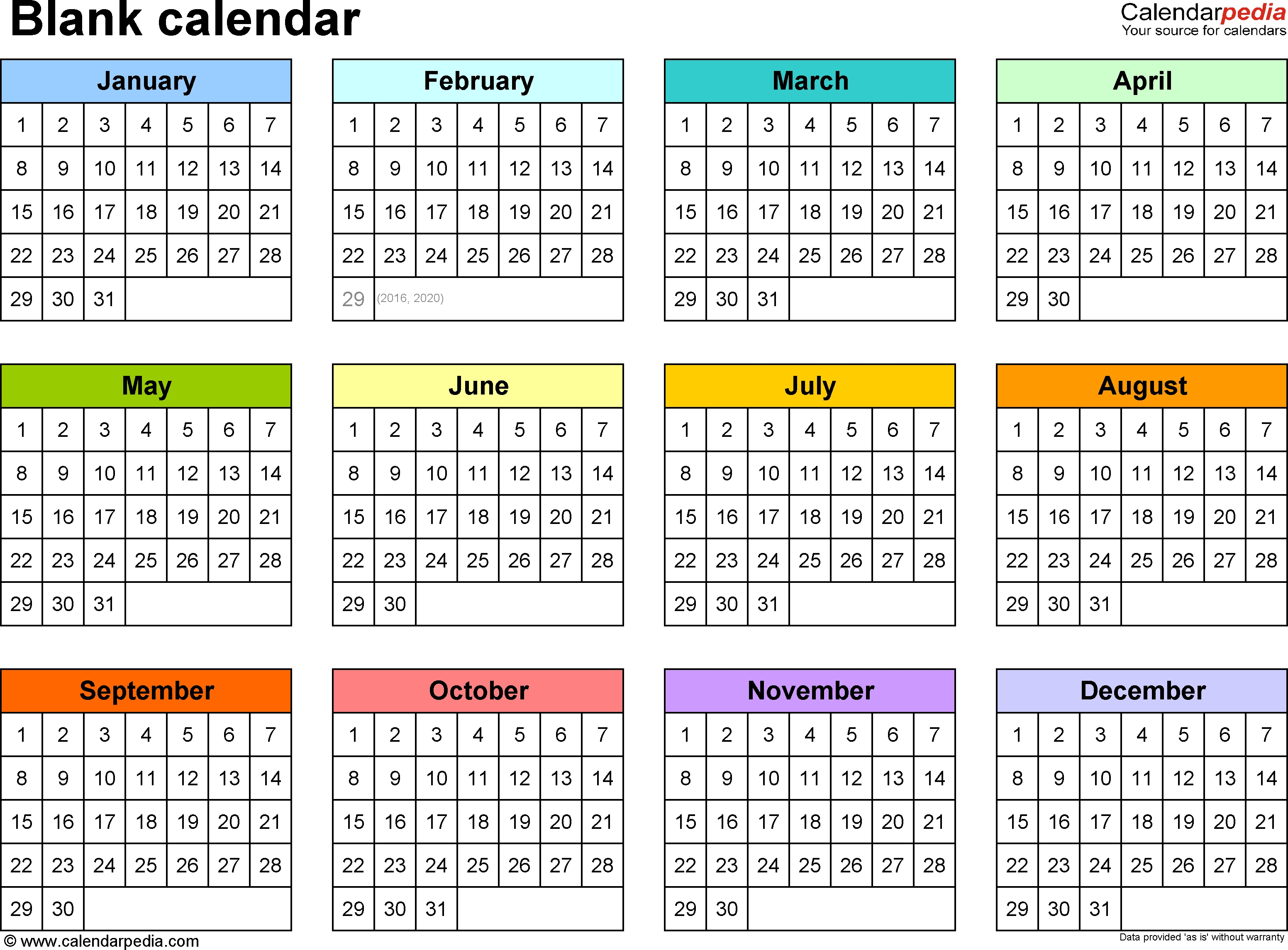 Blank Calendar - 9 Free Printable Microsoft Word Templates-Blank Calendar 4 Months One Page