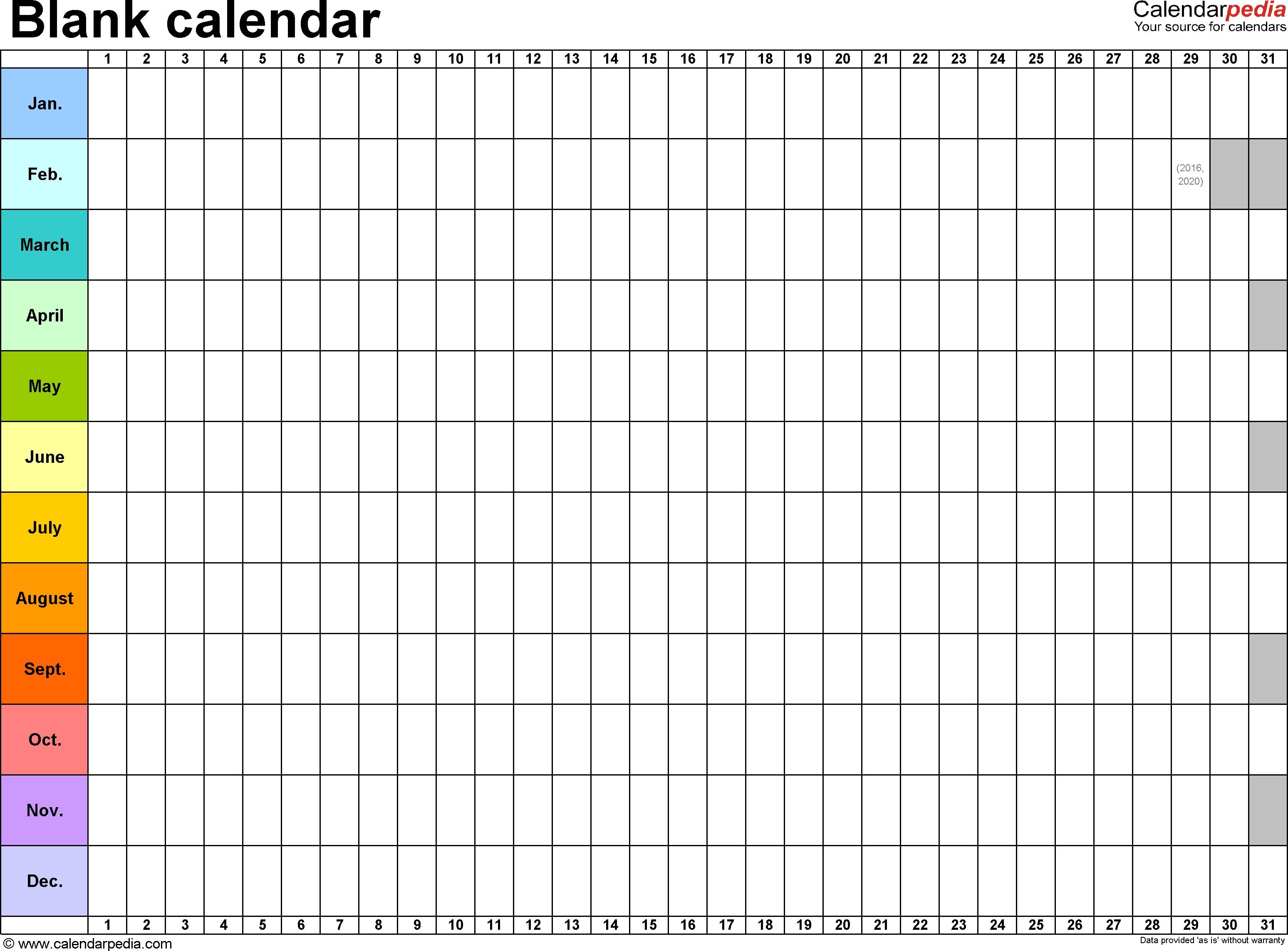 Blank Calendar - 9 Free Printable Microsoft Word Templates-Blank Template For 30 Days