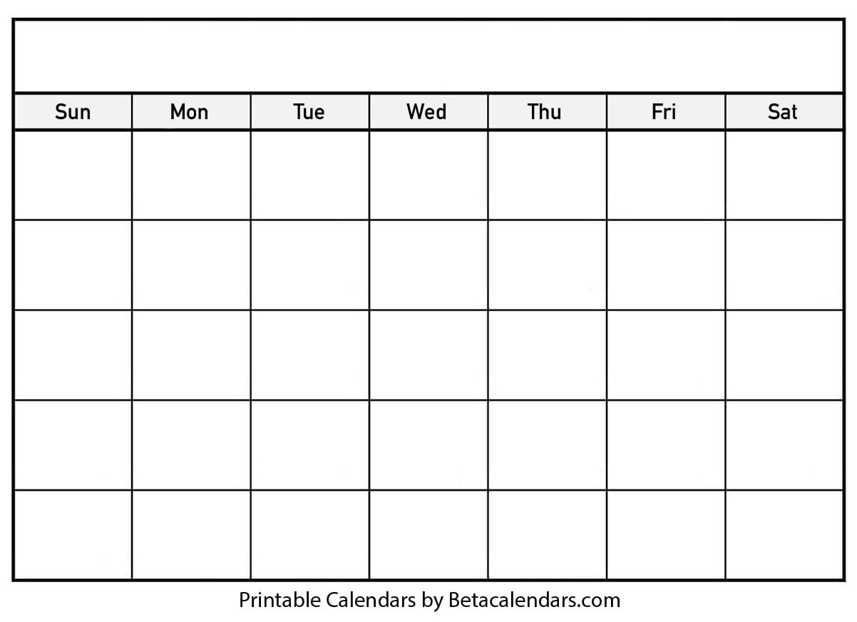 Blank Calendar - Beta Calendars-Calendar Blank With Numbers And Printable